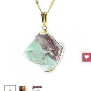 Gold necklaces with fluorite stone /crystal